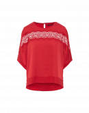 RUMOUR: Short sleeve top in red matt and shine satin-back crêpe