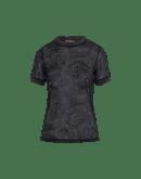SOLACE: Top a manica corta nero con motivo paisley