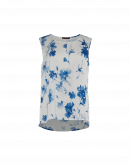 CUE: Tanktop mit blauem und elfenbeinfarbenem Blumendruck