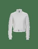 OVERTONE: Cardigan bianco con zip frontale