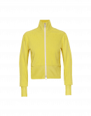 CONCEPTUAL: Zip cardigan in yellow seamless knit with rib jersey