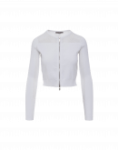 EMPATHIZE: Short fitted cardigan in ivory stretch tech knit