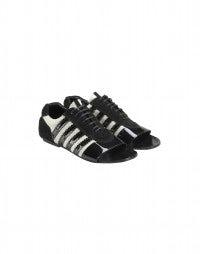 TROPEZ: Scarpe con punta aperta nere e bianche