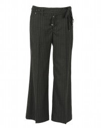 REASON: City-stripe wide leg pants