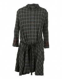 ETERNAL: Wool-blend fantasy check tunic-dress
