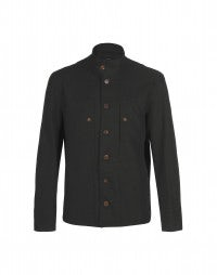 DREW: Black tech gabardine twill jacket