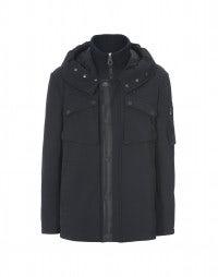 BALFOUR: Navy hooded short coat