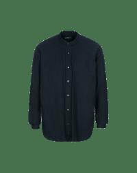 GLEN: Navy cotton low stand collar shirt