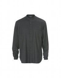 GLEN: Deep charcoal brushed cotton shirt