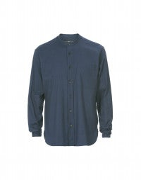 GLEN: Mid navy brushed cotton shirt