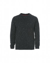 FRASER: Black Donegal tweed yarn knit sweater