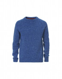 FRASER: Blue Donegal tweed yarn knit sweater