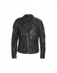 GIBSON: Pre-creased black leather biker jacket