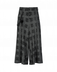 GAFFER: Wide leg jersey culottes in black and grey check