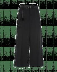 FREEWAY: Black stripe jersey knit cropped flares