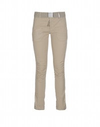 ON FORM: Beige pants with ruched front leg