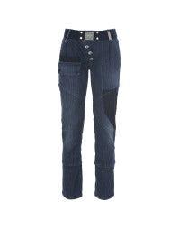 SUPERTISSIMO: Jeans gessati con chiusura asimmetrica