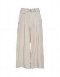 NAVAGAR: Beige high rise linen-cupro culottes