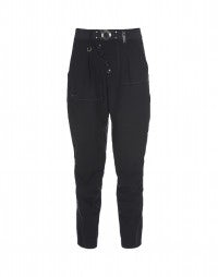COERCE: Dark blue virgin wool taper trousers