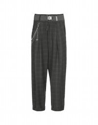 ROOKIE: Black-grey check high waist pants