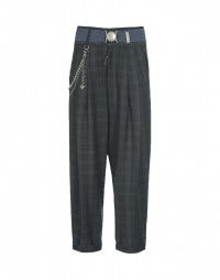 ROOKIE: Blue-grey check high waist pants