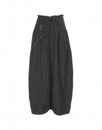 HOOCH: Grey and white directional pinstripe pants