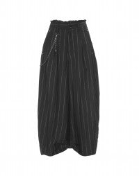 HOOCH: Black and white directional pinstripe pants