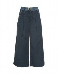 NAVAGAR: Petrol blue silk-wash effect culottes