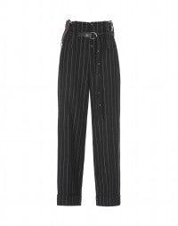 KELLY: Schwarze Hose mit hohem Taillenbund aus Wolle, mit Hosenträgern
