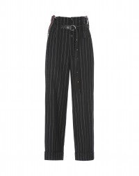 KELLY: Pantaloni neri a vita alta in lana con bretelle