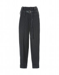 KELLY: Blue wool high waisted suspender pants