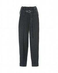 KELLY: Blaue Hose mit hohem Taillenbund aus Wolle, mit Hosenträgern