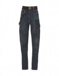 INDIE: Blue shadow and patch high-rise jeans