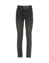 VESPA: Black stretch diagonal seam pants
