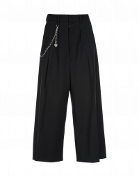 HEYDAY: Wide leg cropped pants in black twill