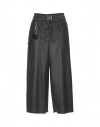 FREEWAY: Black leather-effect cropped jersey flares