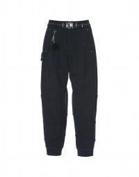 ZIRCON: Navy diagonally seamed, cuffed pants