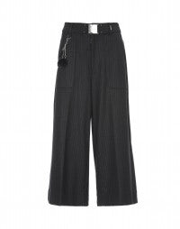 FREEWAY: Pinstripe wool cropped flares