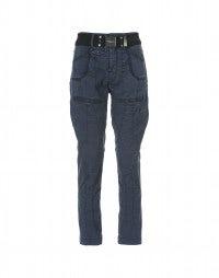 GEOMETRY: Pantaloni in tela di cotone blu marina