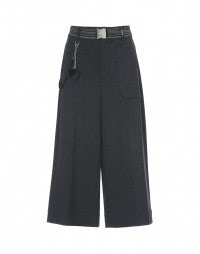 FREEWAY: Charcoal grey jersey cropped flares