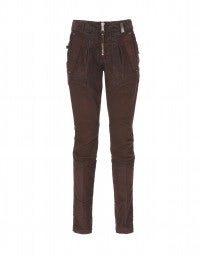RUNAWAY: Burgundy cotton and cord skinny pants