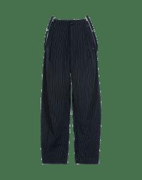 INTENT: Pantaloni gessati fondo blu navy con bretelle