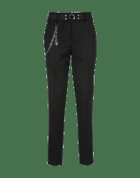 MARILYN: Slim fit flat front pant in black