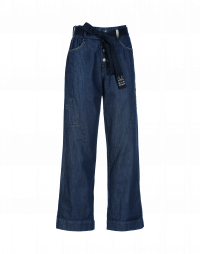 LIBERATE: Blue denim pants with button front and tie belt