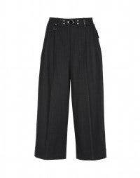 JUSTIFY: Grey stripe pant with wide leg and side zip