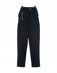 FAIR-PLAY: Flat front, fly front wide leg pant in virgin wool