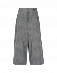 BELL-BOY: Wide leg culottes in dark grey stripe on light grey