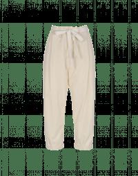 IMPEL: Pantaloni doppio stato in popeline color crema