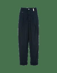 SKITTISH: Dark blue denim cropped & pleated pants
