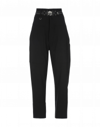 EVADE: Pantaloni a vita alta in lana nera